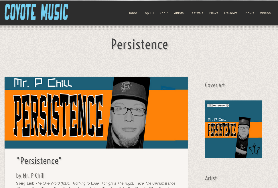 Coyote Music Reviews Persistence